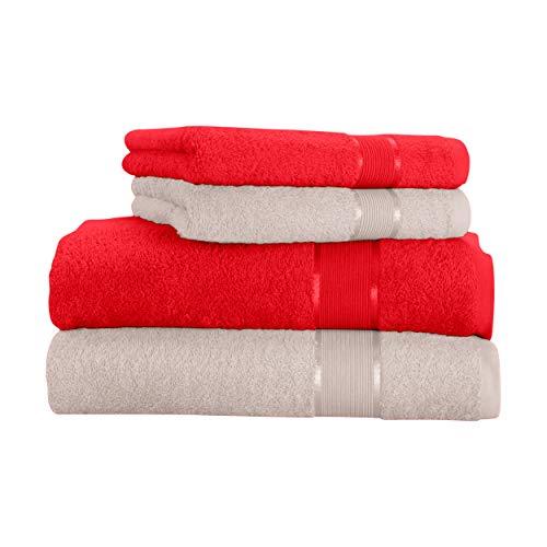 Mixibaby - Juego de toallas (4 unidades) Toalla de ducha de algodón rojo con combinación de colores, algodón, beige, 70 x 140 cm