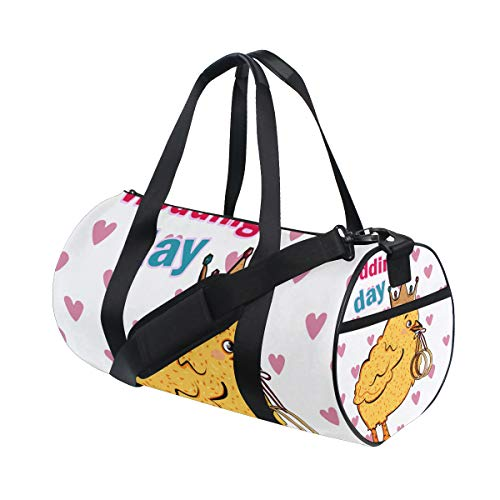 ZOMOY Sporttasche,Heirate Mich Hochzeitskarte Nettes Küken,Neue Druckzylinder Sporttasche Fitness Taschen Reisetasche Gepäck Leinwand Handtasche