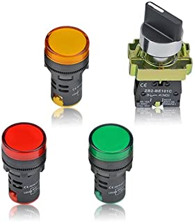 TOVOT 4PCS Energy Saving LED Indicator Light AD16-22D/S AC/DC 110V 20mA Red Green Yellow and 2 Position Rotary Select Selector Switch