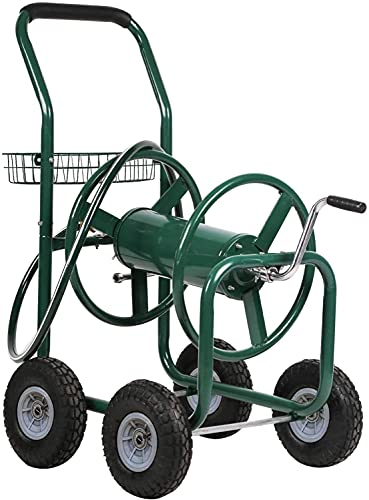 Garden Hose Reel Cart with Wheels Outdoor Yard Water Planting Truck 300-Feet of 5/8-Inch Hose Reel Cart Garden Lawn Water Truck Heavy Duty Water Planting, Green