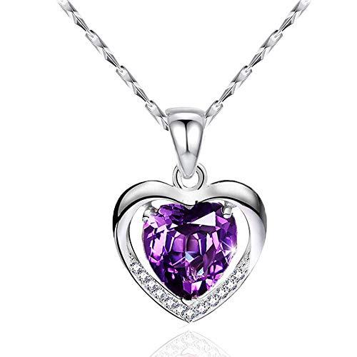 CHIFEI Collar Plata 925 con Dije Corazón Cristal Azul Austriaco Regalo Navidad Amor (Púrpura)