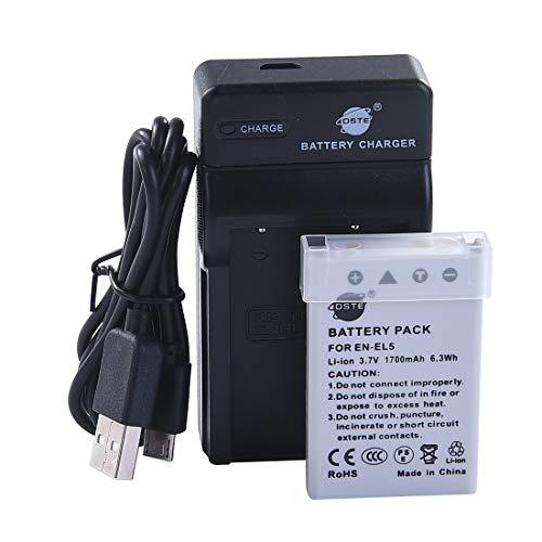 DSTE EN-EL5 Li-Ion Batteria e Caricabatterie USB Compatibile per Nikon Coolpix P510 P520 P530 P5100 P6000 S10 P3 P4 P80 P90 P100 P500