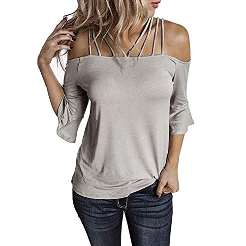LAIYIFA Women Blouse One Shoulder Ladie Tops Flared Sleeves Slim Fit Comfortable T Shirts Fashion Strapless Tunic Spring/Summer/Autumn Women Clothes Gifts for Friends Gray