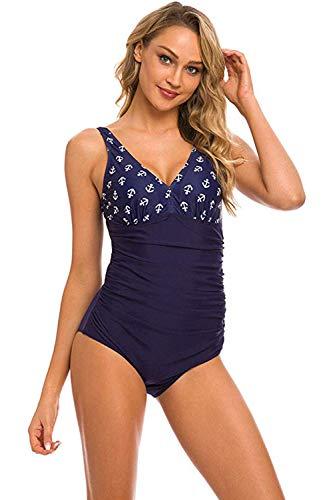 semen Damen Bademode V-Ausschnitt Blumen Badeanzug Rückenfrei Anker Figurformend Einteiler High Waist Beachwear