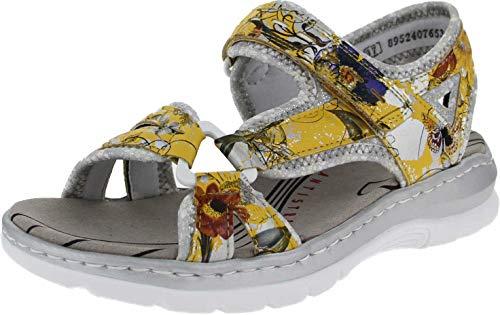 Rieker Damen Sandalen 66979, Frauen Trekking Sandalen, Outdoor-Sandale Sport-Sandale Damen Frauen Lady,Yellow-Multi/silverflower / 91,40 EU / 6,5 UK