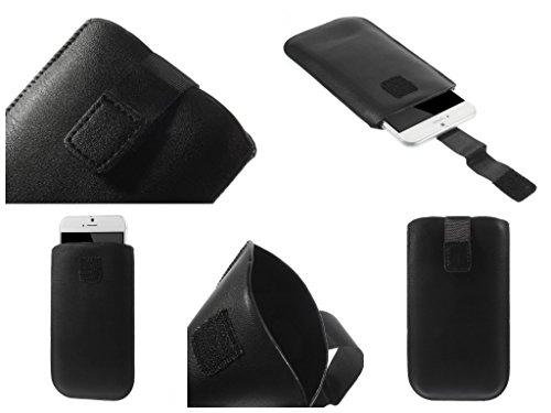 DFVmobile - Etui Tasche Schutzhülle aus Kunstleder mit Rausziehband& Klettbandverschluss für gionee elife e7 Mini - Schwarz