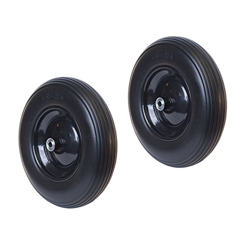 Anti Flat Ribbed Replacement Wheel for Wheelbarrow 16 Inches No Flat Tire Black Lot of 2 - ALEKO 2WBNF16