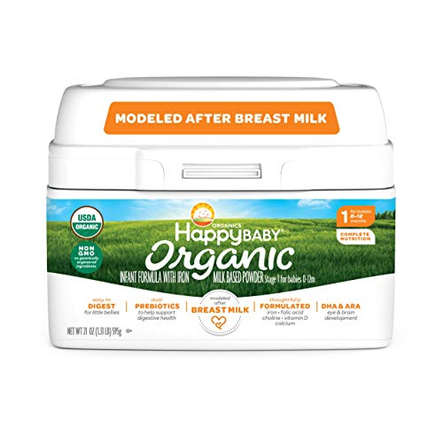 Happy Baby Organic Infant Formula Milk Based Powder with Iron Stage 1, 21 Ounce(Packaging May Vary)