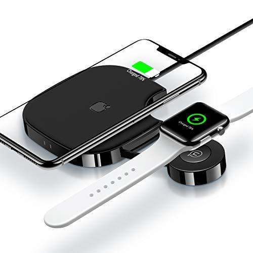USAMS 2 in 1 Ladestation, für iPhone und Apple Watch 3 2 1, 10W Fast Wireless Charger Qi Induktions Ladegerät für iPhone XS Max/XR/X/8 Plus Samsung Galaxy S10/S9/S8/S7 und alle Qi-fähige Handy