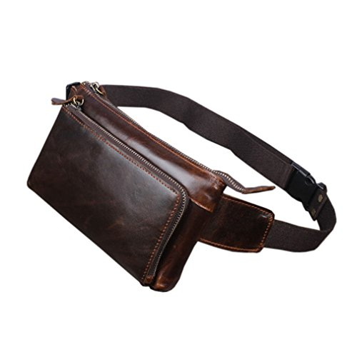 Hebetag Leather Fanny Pack Waist Bag for Men Women Travel Outdoor Hiking Running Hip Bum Belt Slim Cell Phone Purse Wallet Pouch Coffee