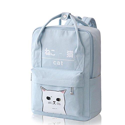 Himifashion Rucksack in japanischem und koreanischem Stil, mit Kawaii-Katze, für Damen und Mädchen, hellblau