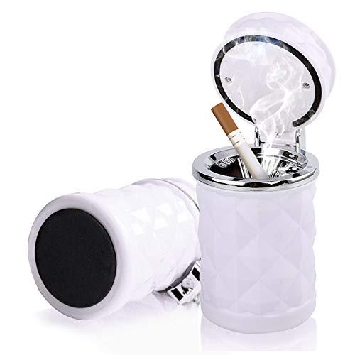 Besylo Cenicero Coche,Cenicero desmontable para automóvil de 2 piezas de fácil limpieza con luz LED con tapa abatible, cenicero autoextinguible para automóviles Van Camping al aire libre (Blanco)