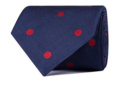 Sologemelos - Cravate Cercles - Bleu Rouge 100% soie naturelle - Hommes - Taille Unique - Confection artesanale Made In Italy