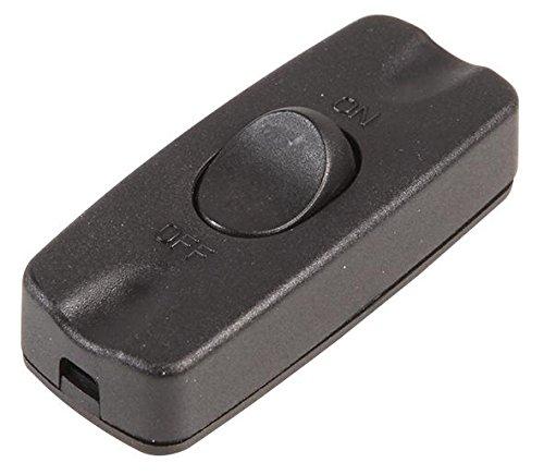 rhinocables Interruptor basculante en línea, 2 A, 2 núcleos, cable flexible para pequeños electrodomésticos y lámparas de mesa (negro)
