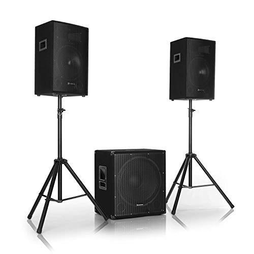 """AUNA Cube 1812 - Set de sonorisation Actif 2.1, 1600W Puissance Totale, 46cm (18"""") Subwoofer, 2X Enceintes 30cm (12""""), Technologie bi-Amplification, écho - Noir"""