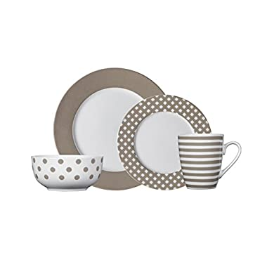 Pfaltzgraff Kenna Taupe 16-Piece Porcelain Dinnerware Set, Service for 4