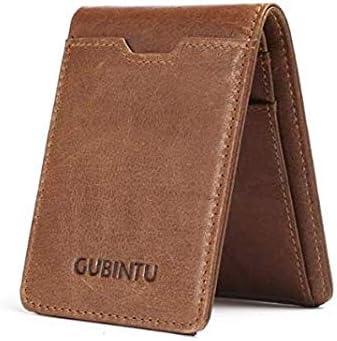 GUBINTU Slim Genuine Leather Bi-fold Front Pocket RFID Blocking wallet for Daily and Travel Wallet for Men (Brown)