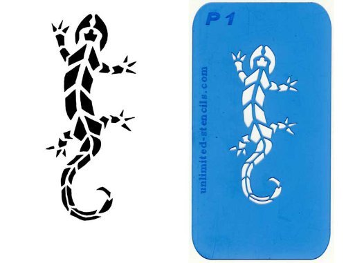 UNLIMITED STENCILS 1 Airbrush Tattoo Schablone GECKO # 01