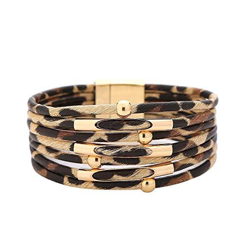 tggh Pulsera para mujer de piel de leopardo vintage para mujer 2021, pulseras y brazaletes elegantes de múltiples capas y anchos (color metálico: leopardo marrón claro)