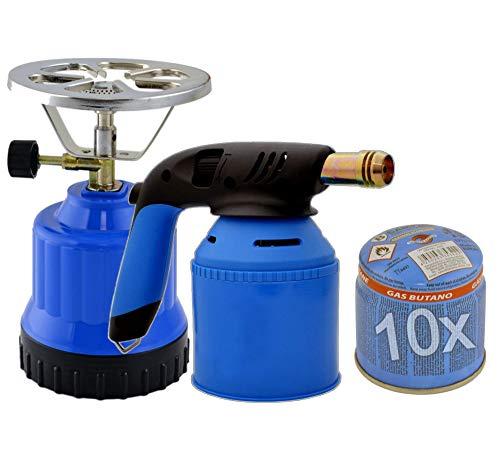 TronicXL 2in1 Premium Gaskocher + Brenner Set I Lötbrenner + Campingkocher für 190g Stechgaskartuschen + 10 Stück Gas Kartuschen - Lötlampe Butangas Gasbrenner mit Piezozündung Camping Kocher