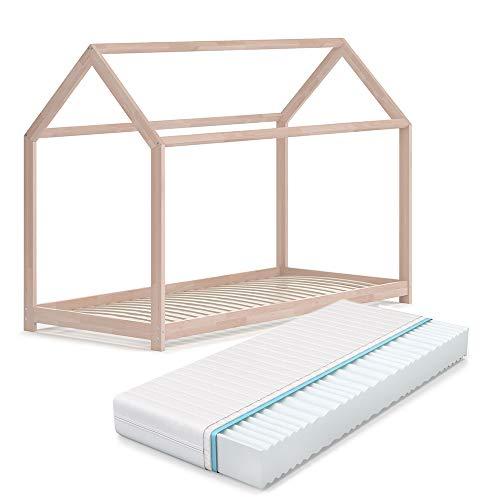 VitaliSpa Hausbett Wiki Weiß Kinderbett Kinderhaus Kinder Bett Holz Matratze (Natur Lackiert, 90 x 200 cm + Matratze)