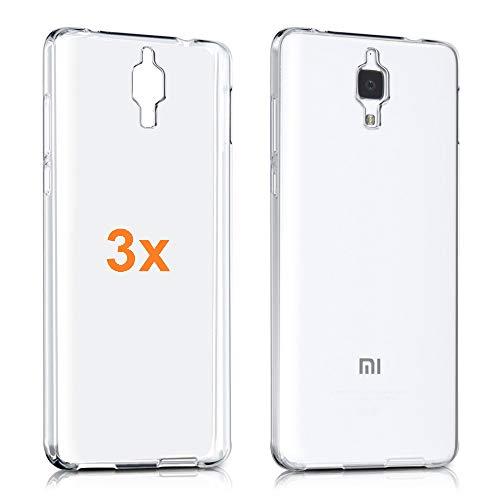 REY 3X Funda Carcasa Gel Transparente para XIAOMI Mi4, Ultra Fina 0,33mm, Silicona TPU de Alta Resistencia y Flexibilidad