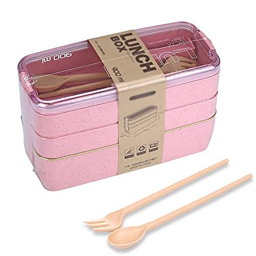 Bento Box - Caja de almuerzo para niños, a prueba de fugas, con cubiertos, divisor, lavavajillas y microondas