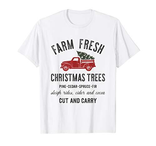 Farm Fresh Christmas Trees Shirt Xmas Graphic Tee Festive T-Shirt