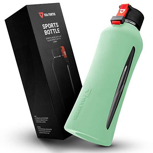 VIA FORTIS Botella de cristal con funda de silicona de alta calidad – Botella para deportes, fitness, gimnasio, bicicleta y oficina – irrompible y sin BPA – 550 ml