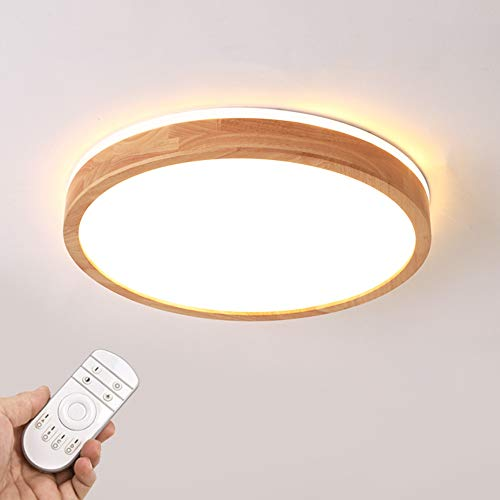 LED Deckenleuchte, Top 360° Glühen Holz Deckenlampe, dimmbar mit Fernbedienung 30W, Φ40cm Runde Holzlampe für Wohnzimmer, Schlafzimmer, Esszimmer, Büro, Kinderzimmer Leuchte Decke Licht
