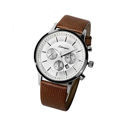 FQDQH Reloj, Cuero de los Hombres con el Reloj de Cuarzo, Impermeable del Calendario Reloj Hombres Simples (Color : Brown)