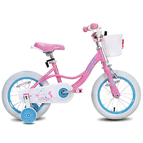 stitch Fairy 12' Inch Kids Bike with Basket & Training Wheels for 2-4 Years Old Girls,Pink