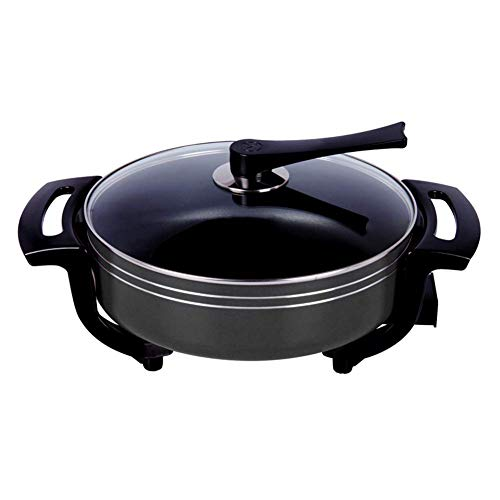 Fondue Hot Pot Elektrische barbecue, zwart modern kurk rond Hot Pot Hot Pot Pan Smoke Free anti-aanbaklaag Fryer Stew frituren Pot.5.5L koken