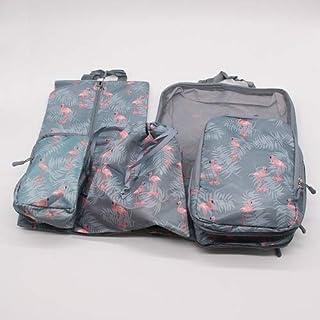 5 قطع / مجموعة ملابس سفر خفيفة مقاومة للماء حقيبة تخزين منظم الأمتعة حقيبة باجي (رمادي وأزرق فلامنغو)
