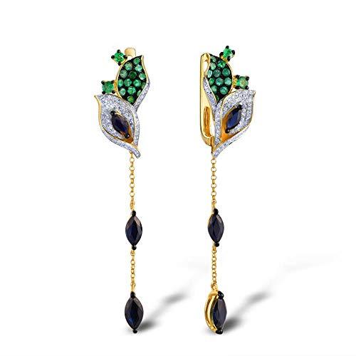 MZNSQB Pendientes de Oro para Mujer 14k 585 Oro Amarillo Diamante Brillante Esmeralda Azul Zafiro Hojas Pendientes Colgantes Joyería Fina