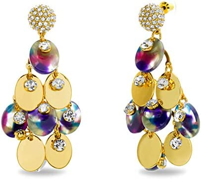 CATHERINE MALANDRINO Yellow Gold Tone Statement Rhinestone Rainbow Acrylic Chandelier Earrings product image