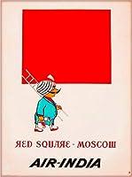 ERZANブリキ看板30x40cmモスクワロシア赤の広場エアインディアヴィンテージ旅行広告ポスター印刷アンティーク 英語アメリカン ガレージ