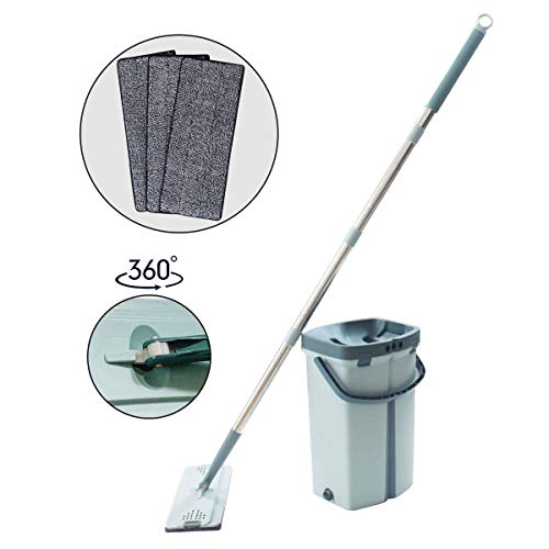 WEWLINE Lazy Mop with Bucket Type, Microfiber Flat Mop Head can be Rotated 360° Flexibly, Hand-Washing Wet and Dry Lazy Mop,Used for Household Floor Cleaning