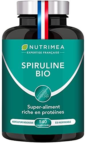 Spiruline BIO Pure 500 mg   19% de Phycocyanine   540 Comprimés   Riche en Protéines, Antioxydants, Fer   Sans Excipients et OGM   6 Mois de Cure   Fabrication Française   Nutrimea
