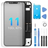 Screen Replacement for iPhone 11 6.1 Inch, Digitizer Assembly 3D Touch Replacement Screen with Waterproof Frame Adhesive Sticker, Repair Tool Kits and Tempered Glass Protector