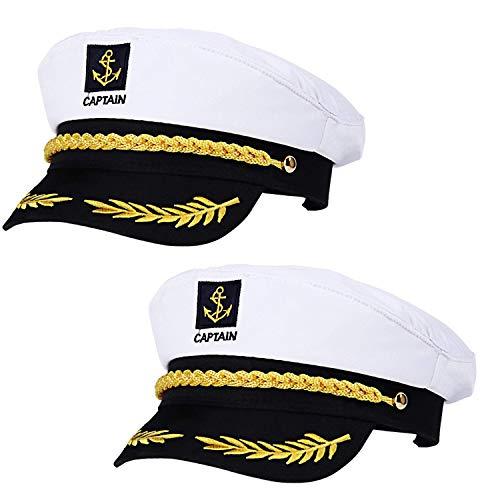 REAMOUS 2 Pcs Capitán Adulto Sombrero de Cosplay Gorra Yate Barco Navegante Marinero...