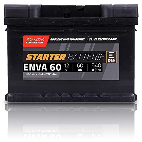 ENVA 60Ah 540A 12V AUTOBATTERIE STARTERBATTERIE PKW-BATTERIE 32124101