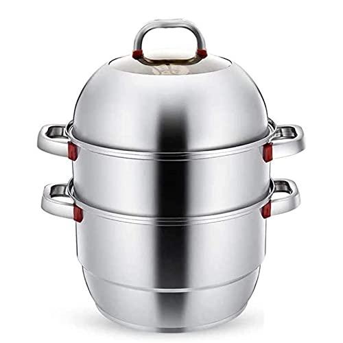 HHTD Pote de Sopa con Doble Fondo Sopa de Sopa de Acero Inoxidable Steamer Grossening Pot Sobregla de instrucción Cocina de inducción Estufa de Gas