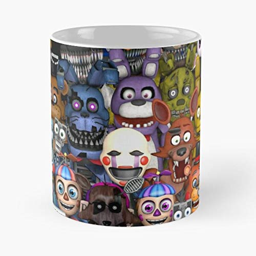 FashionNut FNAF At Game Gift Nights Freddy Five Cosplay La Mejor Taza de café de cerámica de mármol Blanco de 11 oz