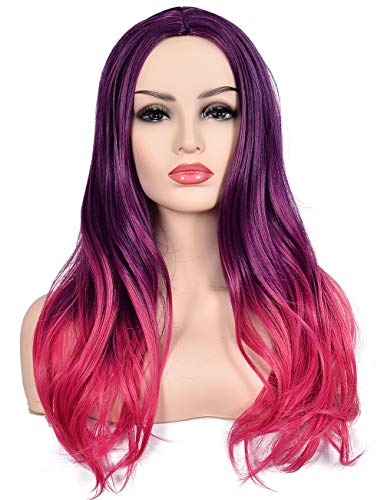 Morvally Women's Long Wavy Ombre Two Tone Purple Pink Synthetic Wig for Women Cosplay Halloween Costume Party Wigs