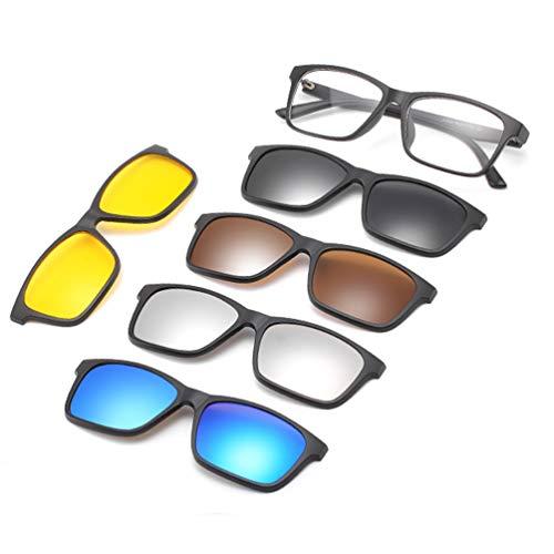Embryform Gafas de sol con clip,MagClip Montura de Gafas con Clip de Sol Polarizado Magnético para conducción y al aire libre(5 Clip+1 Marco)