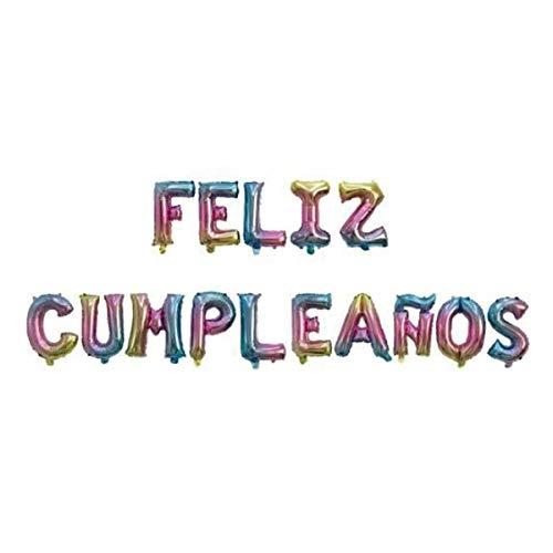 Globos Feliz Cumpleaños Español Altura letras 45cm (Multicolor)