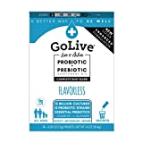 GoLive Probiotic Supplement, Sugar Free, Flavorless, 28ct- Probiotics for Women, Men and Kids, Prebiotic Fiber for Gut and Digestive Health