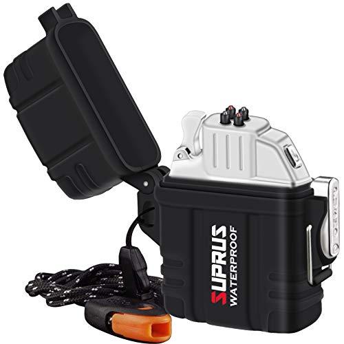 SUPRUS Encendedor impermeable Plasma IPX-7 carcasa impermeable + uso más ligero 2 en 1