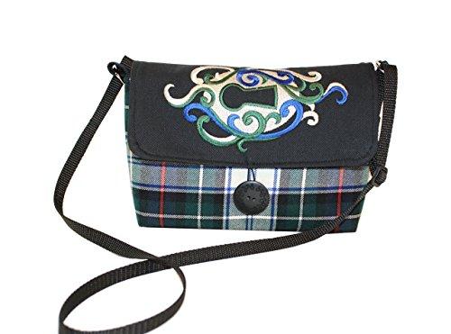 Wool Clutch-size Crossbody Handbag-'Blue & Green Tartan' Eco-Friendly clutch purse made with recycled Wool and Denim.